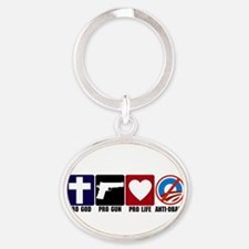 Pro God Pro Gun Anti Obama cp.tif Keychains