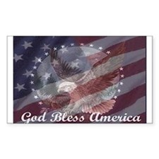 God Bless America 2 Rectangle Decal