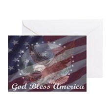 God Bless America 2 Greeting Cards (Pk of 10)
