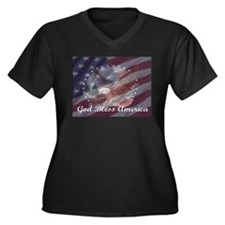 God Bless America 2 Women's Plus Size V-Neck Dark