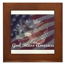 God Bless America 2 Framed Tile