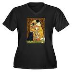 Kiss / Puli Women's Plus Size V-Neck Dark T-Shirt