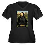 Mona Lisa /Puli Women's Plus Size V-Neck Dark T-Sh