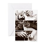 Three Young Knitters Card (Pack of 10)