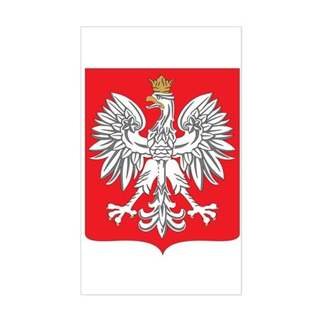 Polish White Eagle Emblem Rectangle Sticker