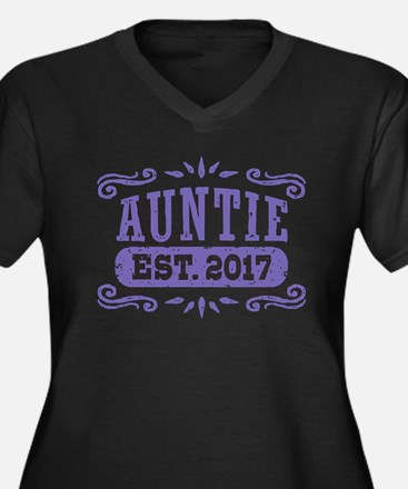 Auntie Est. Women's Plus Size V-Neck Dark T-Shirt