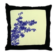 BAMBOO BLUE ON YELLOW Throw Pillow