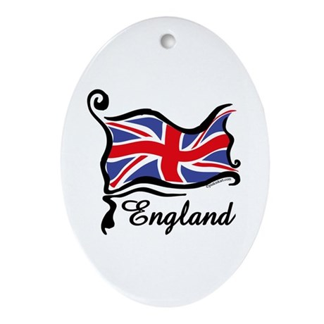 Funky British Flag Oval Ornament