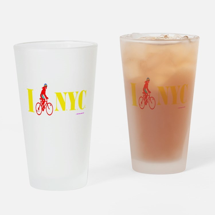 I Bike NYC RED transp.png Drinking Glass