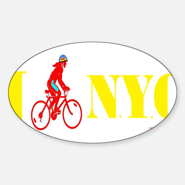 I Bike NYC RED transp Decal