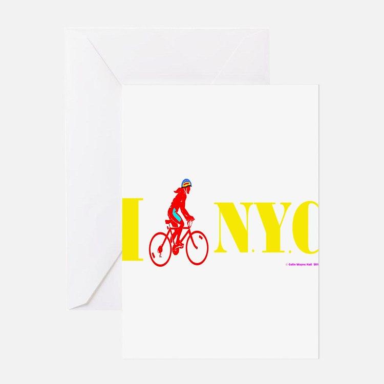 I Bike NYC RED Greeting Cards
