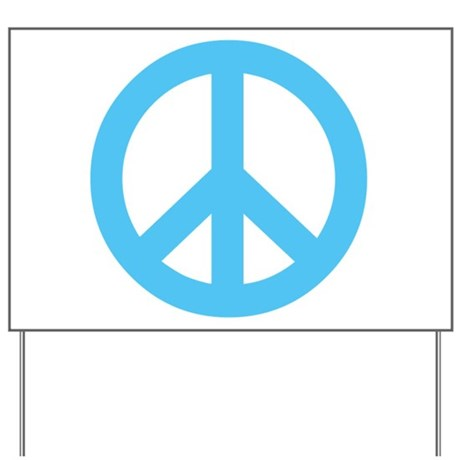 Blue Peace Sign Yard Sign