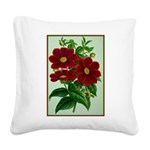 Vintage Flower Print Square Canvas Pillow