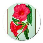 Red Morning Glorys Round Car Magnet