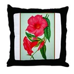 Red Morning Glorys Throw Pillow