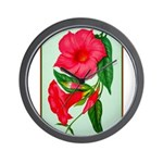 Red Morning Glorys Wall Clock