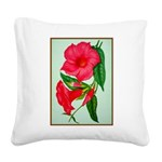 Red Morning Glorys Square Canvas Pillow