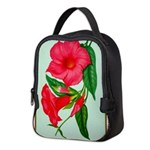 Red Morning Glorys Neoprene Lunch Bag