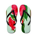 Red Morning Glorys Flip Flops