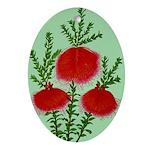 String Bell Vintage Flower Print Oval Ornament