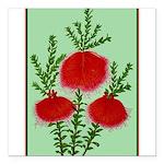 String Bell Vintage Flower Print Square Car Magnet