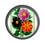 Colorful Flowers Vintage Poster Print Wall Clock