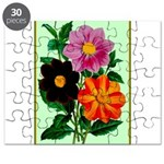 Colorful Flowers Vintage Poster Print Puzzle