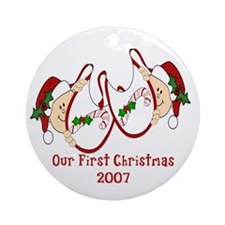 Twins Our First Christmas Peeking Ornament (Round)
