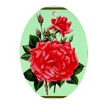 Red, Red Roses Vintage Print Oval Ornament