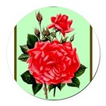 Red, Red Roses Vintage Print Round Car Magnet