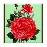 Red, Red Roses Vintage Print Tile Coaster
