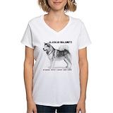 Alaskan malamute Womens V-Neck T-shirts