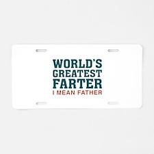 World's Greatest Farter Aluminum License Plate