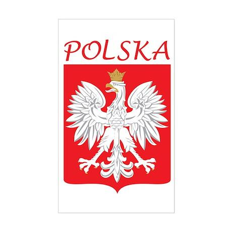 White Eagle and Polska Rectangle Sticker
