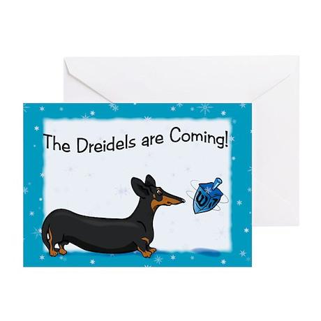 Dachshund Dreidel Hanukkah Cards (10)