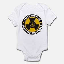 Peace Thru Superior Firepower Infant Bodysuit