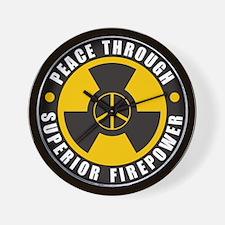 Peace Thru Superior Firepower Wall Clock