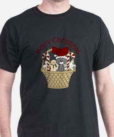 Christmas Cat and Candy Cane Baske T-Shirt