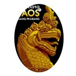Laos Vintage Travel Print Oval Ornament