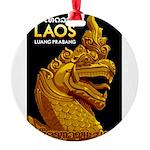 Laos Vintage Travel Print Round Ornament