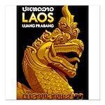 Laos Vintage Travel Print Square Car Magnet 3