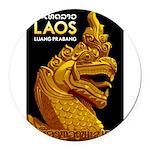 Laos Vintage Travel Print Round Car Magnet