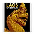 Laos Vintage Travel Print Tile Coaster