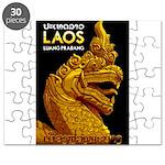 Laos Vintage Travel Print Puzzle
