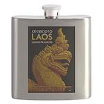 Laos Vintage Travel Print Flask