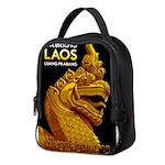 Laos Vintage Travel Print Neoprene Lunch Bag