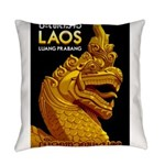 Laos Vintage Travel Print Everyday Pillow