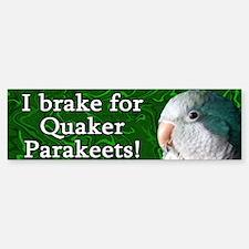 I Brake for Quaker Parakeets Bumper Sticker (Blue)