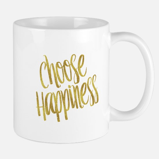 Choose Happiness Gold Faux Foil Metallic Glit Mugs
