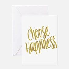 Choose Happiness Gold Faux Foil Met Greeting Cards